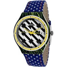 Swatch Tiger Babs Ladies Watch ($85) ❤ liked on Polyvore featuring jewelry, watches, skeleton wristwatch, skeleton jewelry, bezel watches, swatch jewelry and water resistant watches