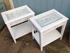 Pair of shelled tables- white