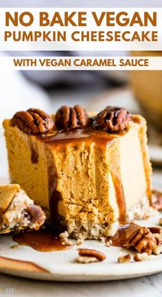 This healthy and easy vegan pumpkin cheesecake is a no bake and delicious recipe. It is made with raw cashews, and the creamy homemade caramel sauce is absolute heaven. #veganrecipes #cheesecake #healthyrecipes #glutenfree Healthy Dessert Recipes, Sweet Desserts, Cupcake Recipes, Healthy Desserts, Easy Desserts, Delicious Desserts, Vegan Sweets, Healthy Tips, Paleo Recipes