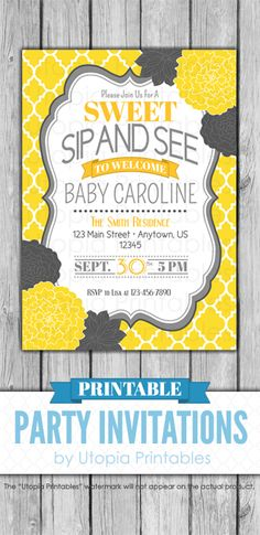 Items similar to Sweet Sip and See Invitation Yellow Gray Baby Shower Flower Floral Theme Modern Digital Printable Customized White Grey DIY Party on Etsy Sip And See Invitations, Printable Baby Shower Invitations, Baby Shower Printables, Party Invitations, Invite, Grey Baby Shower, Baby Shower Flowers, Modern Moroccan, Floral Theme