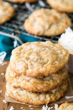 Buttery, chewy COCONUT COOKIES! These are so good! #cookies #coconut #recipe #baking #coconutcookies