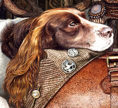Details of English Springer Painting at The Dog Museum
