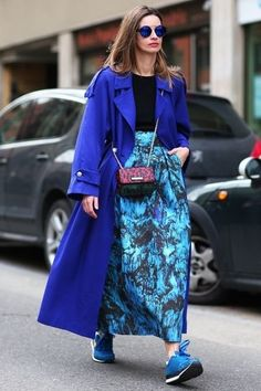 True blue! Loving this cobalt blue coat paired with a printed cerulean blue skirt.. and blue sneakers and sunnies, too? Love it!