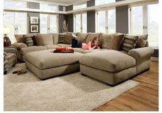 Comfy Sectional Sofa With Chaise.Extra Large Sectional Sofas With Chaise Chaise Design. Extra Deep Sofa With Chaise Images 48 Chaise Design. Furniture: Wonderful Oversized Sectional Sofas With . Home and Family New Living Room, My New Room, Living Room Sofa, Living Room Furniture, Home Furniture, Small Living, Living Area, Pallet Furniture, Furniture Layout