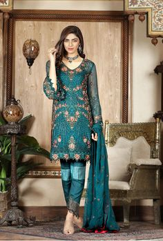 Vogue Clothing Studio - All you add is original Clothing Studio, Pakistani Dresses Online, Pakistani Street Style, Eid Collection, Pakistani Designers, Indian Suits, Shalwar Kameez, Chiffon, Vogue