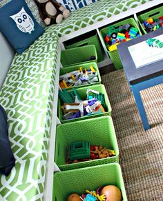 Play room window seat/storage idea. Love the colors and of course that the toys are up off the floor :)
