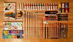 "Knolling is a unique way of taking photos of similar objects in a cool manner. The actual definition of knolling is ""the process of arranging like objects in Things Organized Neatly, Paint Supplies, Artist Supplies, Cleaning Supplies, My Art Studio, Texture, Art Plastique, Magazine Design, Art Studios"