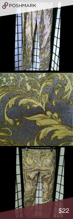 Metallic Gold Lavender Paisley Stretch Jeans Gorgeous and in excellent condition! Lightweight and sharp. Rock them!  *Original closure button has been replaced with a pretty see-thru clear button. Really cool! See last photo.* Enjoy! :)  98% Cotton/2% Spandex  Plz ask Q's ~ I love happy buyers! :) Hot Kiss Jeans Skinny