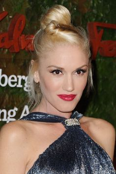Red Carpet Ready:Gwen Stefani rocks the intricate twist on the go-to top knot.