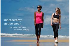 Our activewear tops have shelf bra + foam cups + pocketed both sides.  Think comfort, support & style.  Choose between 3 styles.  #mastectomy