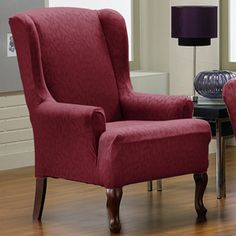 Fresca Merlot Wing Chair Slipcover. Victorian, contemporary furniture, Soft, velvety upholstery, form fit slip cover design, living room, beautiful interior design, chic home decor