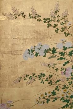 Detail. Japanese Screen: Chrysanthemums. Rimpa School; Depiction of sprays of the autumn flower with bush clover and miscanthus grass on gold leaf. 19th century