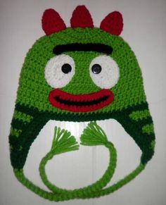 Custom crochet Brobee ear flap beanie hat photo prop