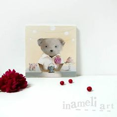 Sweet and chic children original painting of vintage teddy bear by inameliart, $79.00 #handmade #art