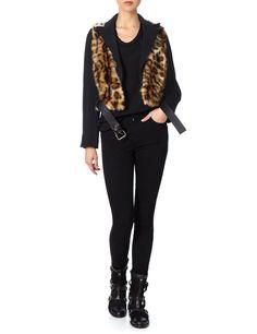 Leopard Faux Fur Cropped Jacket | David Szeto | Avenue32