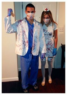 and Zombie Nurse costumes for Halloween Halloween Zombie, Zombie Nurse Costume, Doctor Halloween Costume, Zombie Couple Costume, Halloween Party Kostüm, Doctor Costume, Halloween Party Costumes, Halloween Outfits, Halloween Decorations