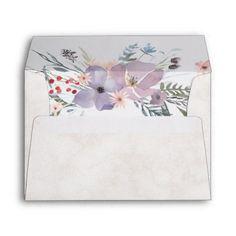 Violet Meadow Watercolor Floral Bouquet Envelope
