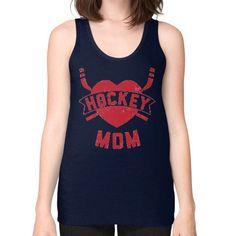 HOCKEY MOM RED Unisex Fine Jersey Tank (on woman)