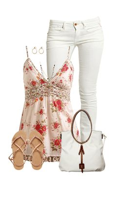 Cute outfit - white skinny jeans