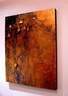 CAROL NELSON FINE ART BLOG-This mixed media piece features multiple transparent washes over a copper-painted canvas. The squares are wood covered with gold metallic origami foil. The thin wood squares were flat to begin with, but became curved when they were embedded in gesso and acrylic medium. I actually thought the curves they took on were a plus - another example of a happy accident. Because of the metallic paints and foil, the light bounces around and gives the painting a warm glow.