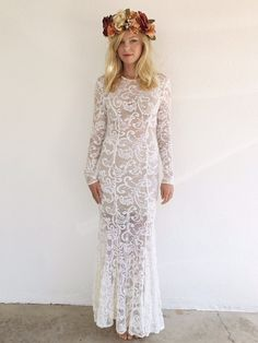 Bohemian Lace Body Con Dress with Flare and by bjonesstylevintage