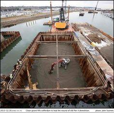 Construcción de la cimentación de un puente. vía Highway Engineering