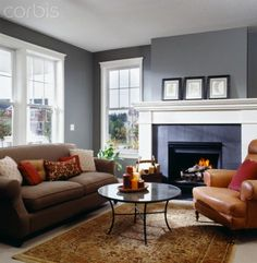 Living Room Ideas Tan Sofa gray walls, tan couch.. didn't think it would work but i like it