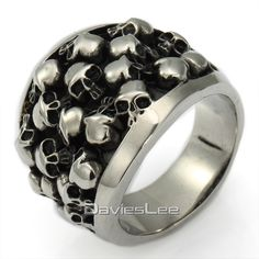 Rock'n Roll Punk Unique Gift Heavy Gothic Black Silver Color Horror Skulls 316L Stainless Steel Mens Ring US Sz 8-14 DLHR31