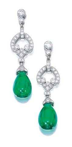 Pair Of Emerald And Diamond Pendent Earrings Tiffany Co Each Suspending An