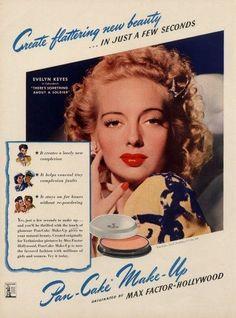 Evelyn Keyes for Max Factor Pan-Cake Make-Up ~ 1943 Vintage Makeup Ads, Vintage Beauty, Vintage Ads, Vintage Fashion, 1950s Makeup, Retro Makeup, 40s Fashion, Vintage Vanity, Vintage Glamour