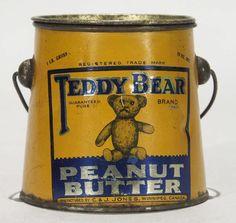peanut butter tin | 1066: Teddy Bear Peanut Butter Tin Pail : Lot 1066