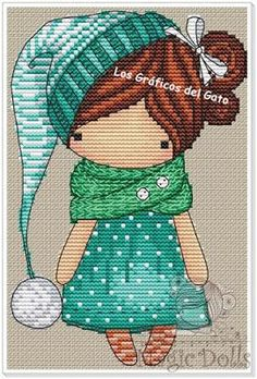 Bonito gráfico de una muñequita con gorro verde...