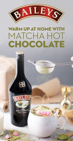 Hot Chocolate has met its matcha. Warm up this winter with this delicious treat. To make, combine 1.5 tsp Matcha Powder and ½ cup hot Soy Milk and whisk completely until incorporated. Stir in 1 oz White Chocolate Chips until melted. Add 1.5 oz. Baileys Original Irish Cream and top with whipped cream! Garnish with a tall skewer of pink mochi balls! Baileys Cocktails, Winter Cocktails, Cocktail Drinks, Fun Drinks, Yummy Drinks, Alcoholic Drinks, Baileys Liquor, Beverages, Baileys Original Irish Cream