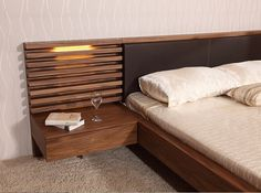 Raks Wooden Bed - Raks is a blend of walnut veneer frame & leatherette headboard that makes it one of the best luxury - Wood Bedroom Furniture, Wooden Bedroom, Wooden Beds, Bed Back Design, Bedroom Cupboard Designs, Bedroom Bed Design, Cozy Bedroom, Contemporary Bedroom, Contemporary Furniture