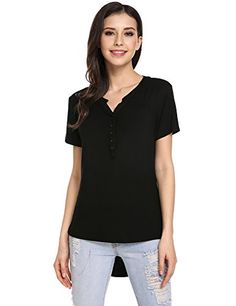 """Special Offer: $17.99 amazon.com Women Solid Comfy Loose Fit Roll Over Short Sleeve V Neck Lightweight Top Tee Colors: As Display Picture Show Package Content: 1 x Women Henley Size chart for your reference: SIZE S——Bust 95.0 cm/ 37.1 """" —–Sho ???? ?..."""