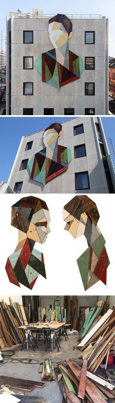 madeira de demolição, que ia ser jogado fora . . . Geometric Portraits Constructed with Reclaimed Wood by 'Strook'