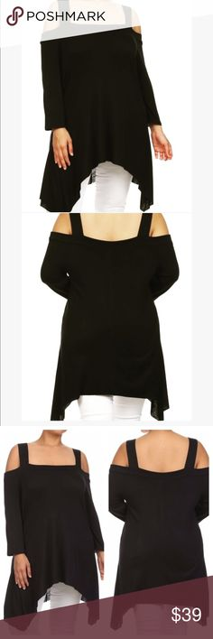🆕Open Shoulder Black Tunic Curvaceous Sizing Stretchy material great for leggings or jeans you will look smashing coming and going. 1X fits sizes 14 to 16 2X 18 to 20 and 3X 22 to 24. Evolving Always Tops Tunics