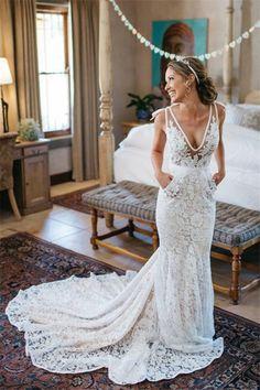 Lace Wedding Dresses #LaceWeddingDresses, Wedding Dresses Mermaid #WeddingDressesMermaid, Backless Wedding Dresses #BacklessWeddingDresses