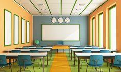 Multimedia Classroom Without Student Stock Illustration - Image . Modern Classroom, Classroom Design, Classroom Decor, School Hallways, School Choice, Classroom Environment, Contemporary Interior Design, Private School, Wall Colors