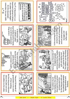History and tradition of Bonfire Night. In this booklet there is the story of Guy Fawkes and his friends that try to kill the Protestant King James I. Vocabulary Worksheets, School Worksheets, Printable Worksheets, Bonfire Night Guy Fawkes, Guy Fawkes Night, Teaching English, Learn English, English Tips, English Class