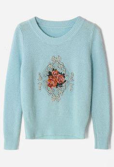 Baroque Rose Embellished Blue Knitted Top