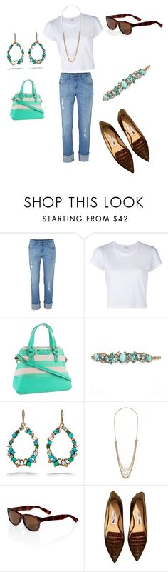 """""""Summer casual set accessorized with the Aquamarine collection"""" by mertensmk on Polyvore featuring RE/DONE, Kate Spade, Chloe + Isabel and Jimmy Choo"""