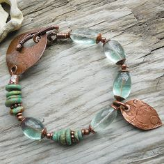 Blue and copper bracelet by Kiersten Giles (Lune2009) - love the clasp!