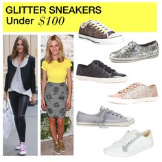 Under $100: Glitter Sneakers by polyvore-editorial on Polyvore featuring Carvela, Keds, Converse, under100 and glittersneakers
