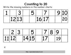 Math Activities for Counting to Twenty