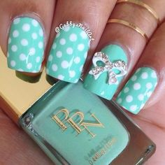 Turquoise & Polka Dot With Silver Bow Nails! So pretty