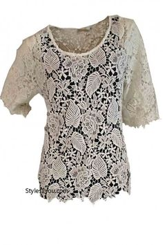 AP Ada Vintage Lace Over Blouse In White