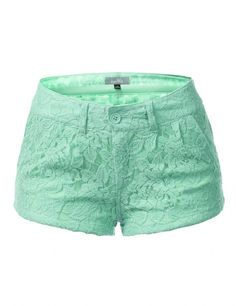 9XIS Womens Fashionable Colored Lace Mini Shorts in Mint Green: Women's Fashion Clothing