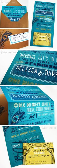 Screen-printed Playbill Poster invitations. www.flakespaperie.com