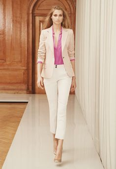 Office look - blazer with white pants and pink shirt